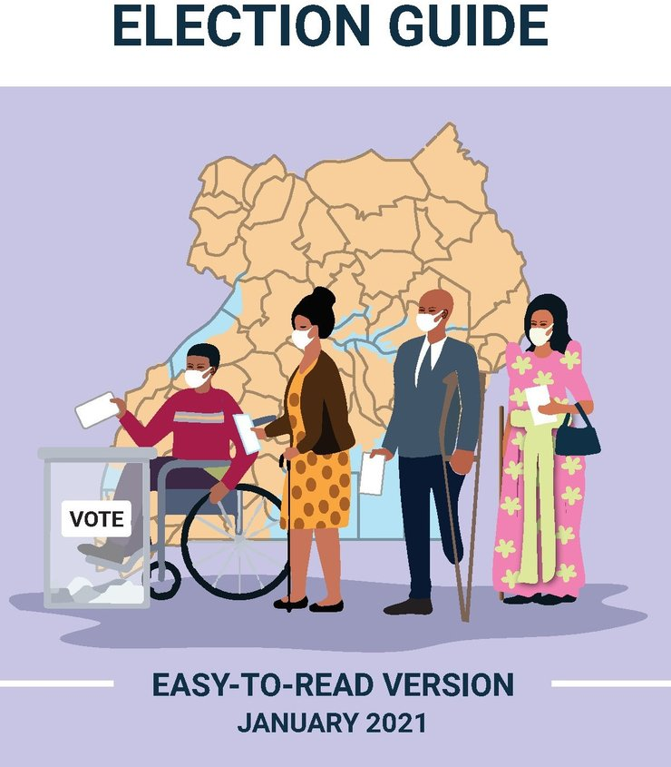 Cover of the easy-to-read election guide produced for voters with low literacy or intellectual disabilities ahead of January 2021 elections in Uganda.