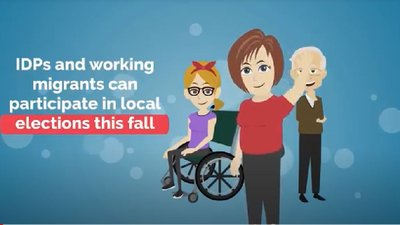 Cartoon image of a young woman using a wheelchair, an older man, and a woman waving.