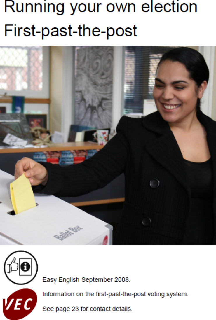 Publication cover: A woman places her vote into a ballot box