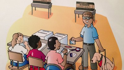 In the illustration, there are three people sitting at a table. One man is using a wheelchair. There are assistive devices (e.g. magnifying glass) on the table. A man wearing sunglasses and with a service dog is presenting his voter identification.