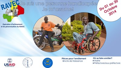 The poster shows two photographs. In the left photo is a man sitting on a motorbike. In the right photo is a man using a wheelchair.