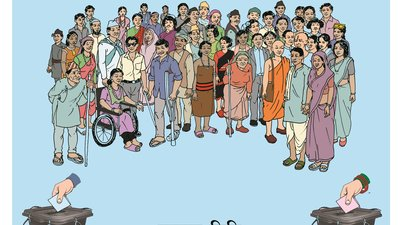 An illustrated crowd of people include severall men and women. In the front row are three men with a physical or visual disability, and two women with a physical disability. There people have different skin tones and dress styles.