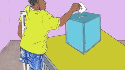 In the illustration, a man wears a yellow shirt and jeans and uses a crutch (his left leg ends at the knee). He is casting a ballot into a bright blue box.