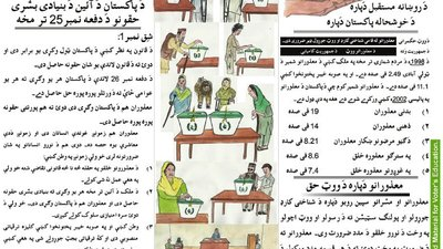 There are three columns on the poster. The far left and the far right columns have Urdu writing. The middle column is illustrated, showing a man and a woman each using crutches and voting in a polling station, as well as voters using wheelchairs.