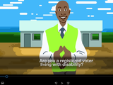 """Cartoon man with caption """"Are you a registered voter living with disability?"""""""
