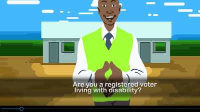 "Cartoon man with caption ""Are you a registered voter living with disability?"""