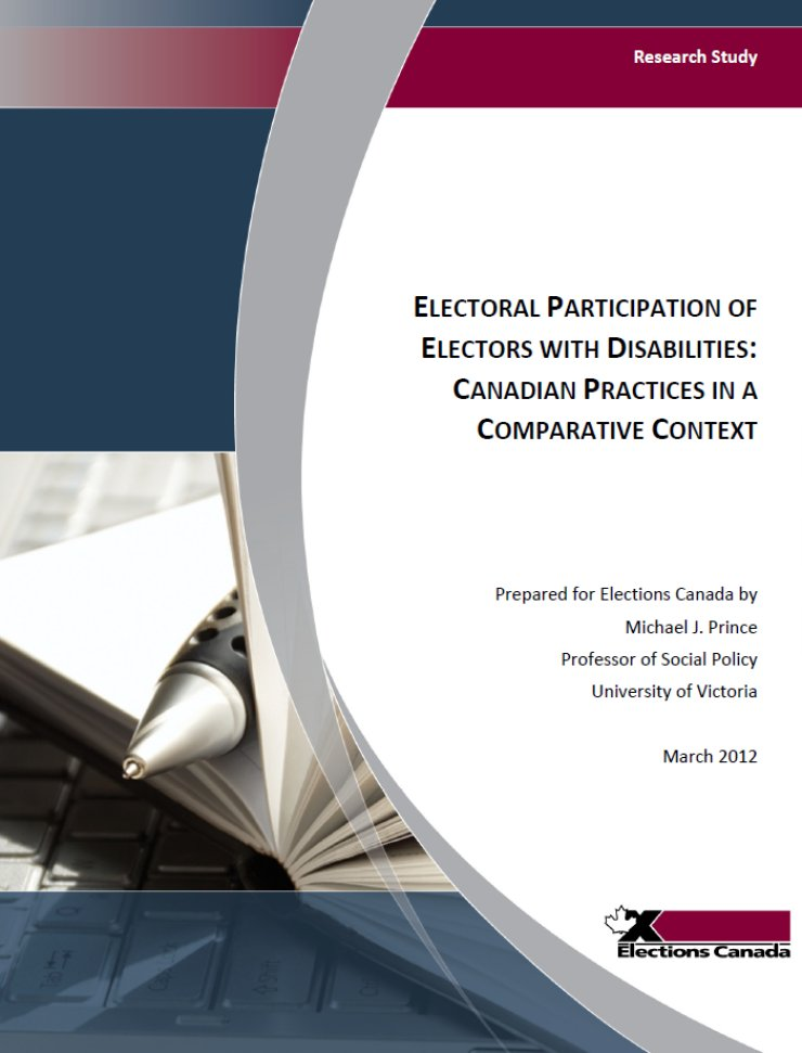 The left half of the cover is a photo of a pen lying on top of a book on top of a laptop. The right half of the cover is the title, with the logo of Elections Canada in the lower right corner.
