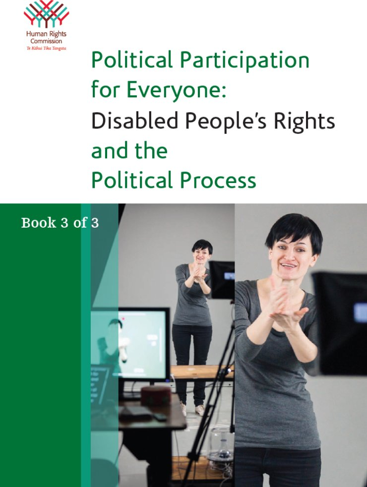 The top half of the cover is white with the HRC logo in the upper left corner and the title in the center. The bottom half is a large photo of a woman using New Zealand Sign Language in front of a video camera.