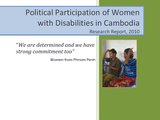 Political Participation of Women with Disabilities in Cambodia