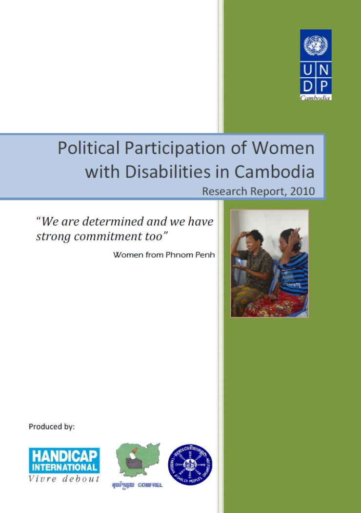 The left half of the cover is white, with three logos on the bottom (Handicap International, COMFREL, Cambodia Disabled People's Organization). The right half is green, with the UNDP logo in the upper right corner and a small photo of two women signing.