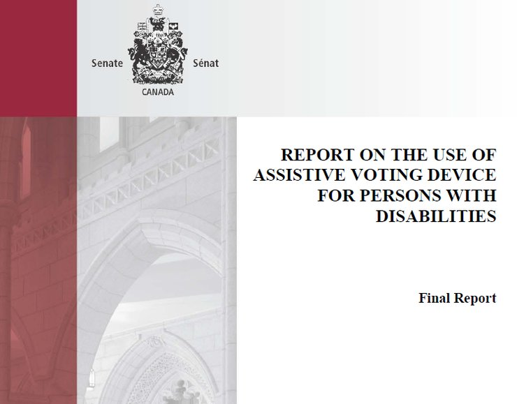The cover of the report contains the title and the logo of the Canadian Senate