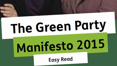 cover of the green party manifesto, shows two women smiling