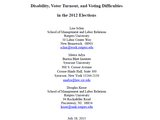 Disability, Voter Turnout, and Voting Difficulties in the 2012 Elections