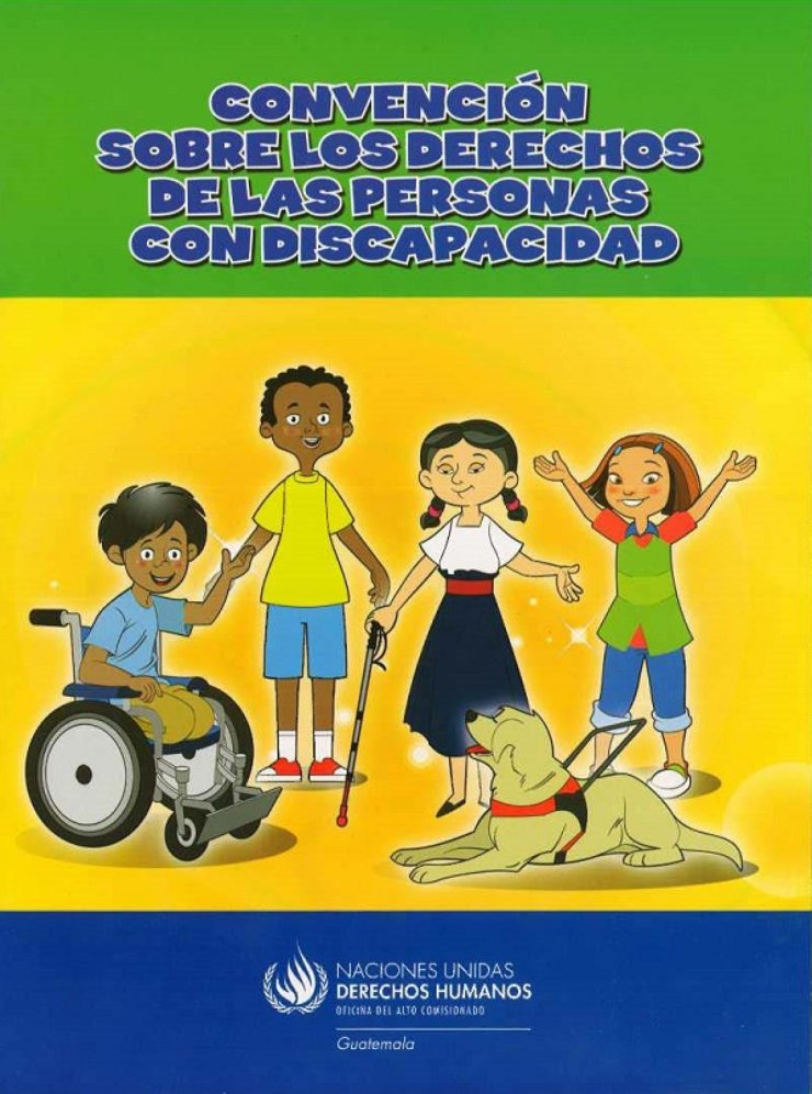 On the front cover is a group of four people (two men and two women) who have a disability. One man appears to be using a wheelchair, and one women is using a cane and guide dog.