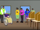 A cartoon of a woman in a wheelchair pushed by a man into a polling station