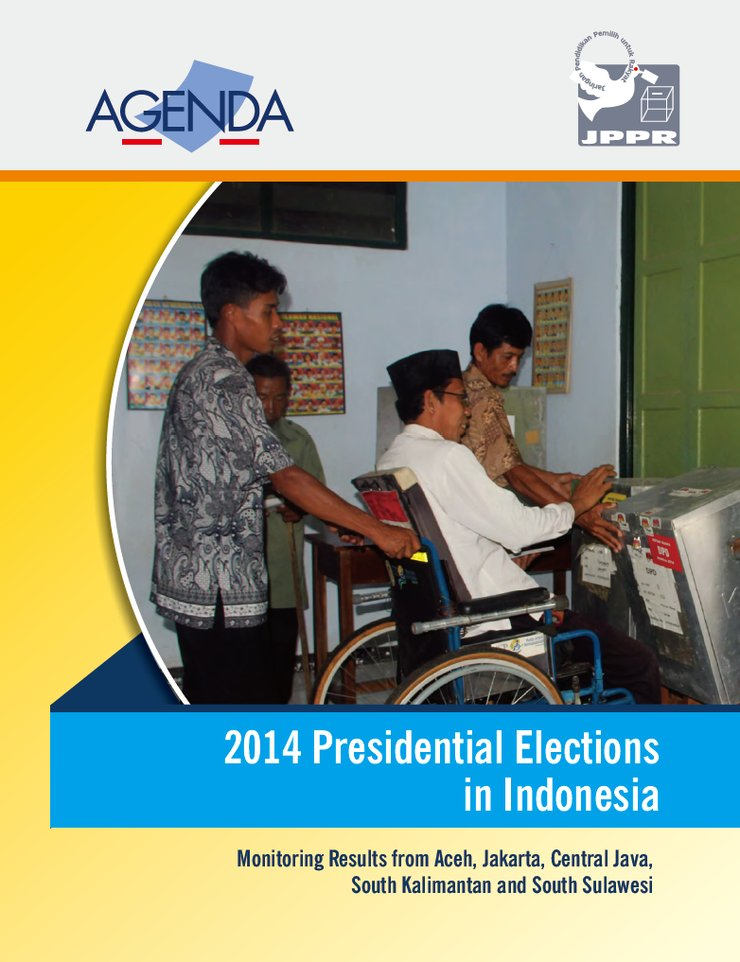 In the main photo, a man using a wheelchair casts his ballot amongst other voters. Below the photo is the title in a bright blue banner.
