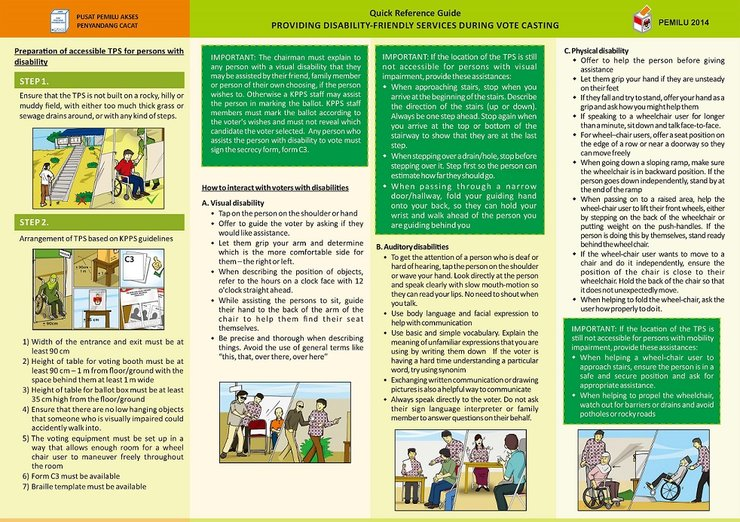 A flattened brochure has 4 columns. In each column are instructions for working with persons with a visual, auditory, or physical disability.