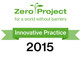 "Logo of the Zero Project, and a banner saying ""Innovative Practice 2015"""
