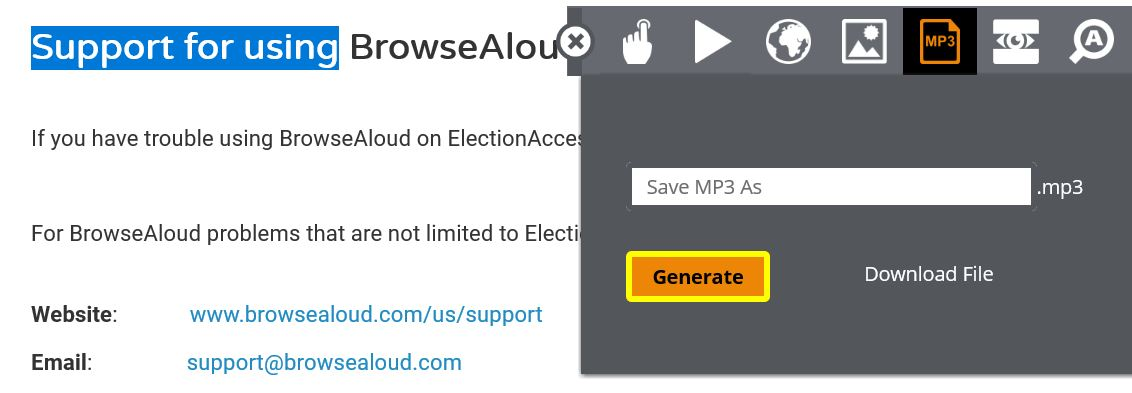 """A dropdown menu appears with a field which says """"Save MP3 As"""" and the words """"Generate"""" and """"Download File"""" below."""
